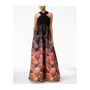 Adrianna Papell Jersey Printed Halter Gown Black 6